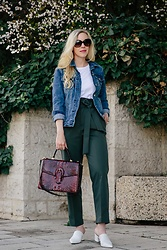 Meagan Brandon - Denim Jacket, Bodysuit Tee, Paperbag Pants, White Mules, Brahmin Gabriella Satchel - Paperbag Waist Pants