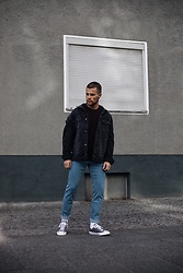 Kevin Elezaj - Converse Sneakers, Cheap Monday Jeans, Lee Jacket, Sandro Sweater - Denim on denim