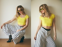 Caitlyn Sway - Yellow Crop Top, Metal Cut Shades, Steve Madden Black Pumps, White Striped Pants, Mesh Tights - Little Miss Sunshine