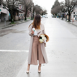 Alexandra G. - Nude Culottes, Mackage Wool Trench Coat, Ted Baker Nude Pumps - Culottes For Spring
