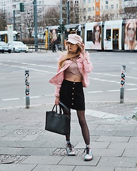 Laura Simon - Topshop Cord Skirt, Karl Lagerfeld Black Bag, Dr. Martens Rainbow Boots, Topshop Rose Top, Zara Pink Denim Jacket, H&M Rose Cap - Berlin Streetstyle
