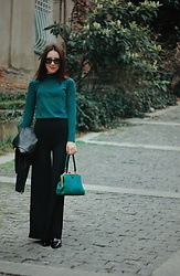 Elzara Muslimova - Mango Turtleneck, Zara Bag - Emerald