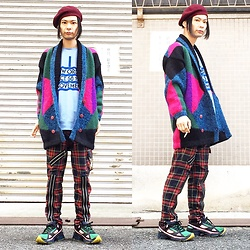 @KiD - New Order Movement, Vintage Multicolored Knit, 666 Zippered Pants, Adidas Raf Simons - JapaneseTrash331