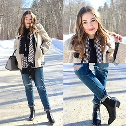 Taylor Doucette - Zara Sherpa Teddy Coat, Citizens Of Humanity Distressed Boyfriend Jeans, Sam Edelman Black Booties, Marc By Jacobs Checkerboard Scarf - Not the One - Mikky Ekko
