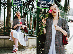 Andreea Birsan - Oversized Check Printed Blazer, Midi White Dress, White And Red Leather Sneakers, Red Suede Shoulder Bag, Clear Lens Glasses - Blazer and dress
