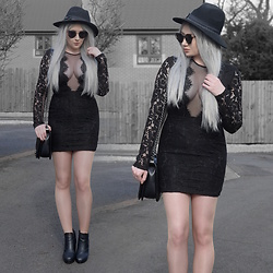 Sammi Jackson - Primark Fedora, Zaful Sunglasses, Tobi Raven Mesh Bodycon Dress, Oasap Quilted Bag, Office Chunky Boots - TOBI RAVEN NETTED LACE DRESS