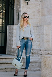 Meagan Brandon - Shirt (Under $25), Gucci Belt, Ag Jeans, Similar Bag, Similar Shoes - Stripes & Studs