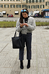 Olivia Corcoran - Urban Outfitters Gray Quilted Cardigan, Striped Trousers, Zara Black Tote Bag, Forever 21 Fun Glasses, Asos Velvet Sock Booties - Simple Mix of Textures