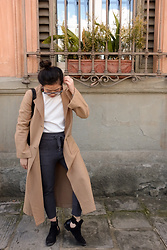 Olivia Corcoran - Camel Coat, Zara Turtleneck Top, Zara Gray Sweater Sweatpants, Zara Open Sided Booties - Sophisticated Sweatpants