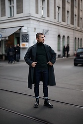 Kevin Elezaj - Dr. Martens Boots, Topman Jeans, A.P.C. Turtleneck, Topman Coat, Acne Studios Glasses - March 16