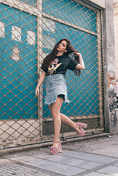 Life Stalkers - Minkpink Tee Dress, Minkpink Denim Skirt, Jeffrey Campbell Shoes Tartan Heels - Born in the 90s