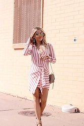 Amber Wilkerson - Dress, Shoes, Sunglasses, Earrings, Bag - STRIPPED SHIRT DRESS