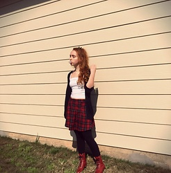 Emily Elizabeth - Forever 21 Girl Gang Crop Top, H&M Plaid Pleated Skirt, Laredo Red Combat Boots - Boarding School Babydoll Girl Gang