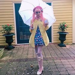 Lily P - Bodyline Pink Boots !, Target (Kids) Sparkle Heart Tights, Angelic Pretty Assorted Cookie Salopette, Vintage Yellow Raincoat, Minty Mix Popcorn Necklace !, Gifted ! Pink Beret - Casual rainy day tea time ∠( ᐛ 」∠)_