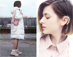Malinina-ek - - Metisu Coat, Sammydress Earring, Zaful Dress, Sammydress Backpack - White & pink