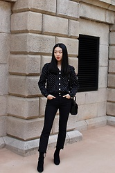 Seoha Park -  - POLKA DOT BUTTON DOWN SHIRT AND BLACK RAW HEM JEANS