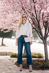 Meagan Brandon - Madewell Shirt, Gucci Scarf, Saint Laurent Bag, Joe's Wide Leg Jeans, Similar Pumps - Spring Things