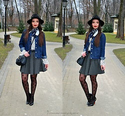 Natalia Uliasz - Gamiss Hat With Pearls, Twinkledeals Denim Jacket, Gamiss Polka Dots Blouse, Zaful Bag, Mohito Skirt, Lidl Polka Dots Tights - Dwukropek