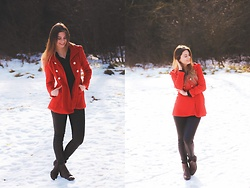 Jenny - Fashionmia Coat, Primark Pants, H&M Shoes - RED COAT