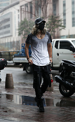 INWON LEE - Byther Black Skull Leather Cap, Byther Paint Gradation Grunge T Shirts, Byther Rubber Skull Logo Keyring, Byther Techwear Strap Pants, Byther Studded Sunglasses - Identity of ByTheR