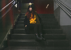 Verónica MG - Gamiss Yellow Sweatshirt, Dresslily Black Parka, Rosegal Chunky Beanie, Gamiss Boots - Underground