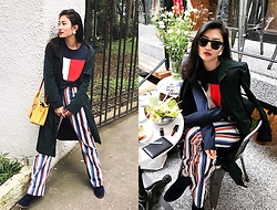 Tiff Lu - Tommy Hilfiger Logo Sweater, Mcm Bag, Ray Ban Sunglasses - VINTAGE STRIPES LOGO LOOK