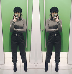 Alex MacEachern - Black Baker Boy Hat, Primark Khaki Turtle Neck Top, Topshop High Waisted Khaki Utility Trousers, New Look Black Ankle Boots - Your Compliments Look Good On Me.