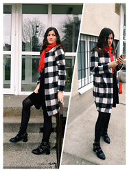Ivana - Shein Checkered Coat, Zaful Ankle Boots, Promod Red Scarf, Blanco Black Dress, Mona Mini Red Bag - Checkered Coat