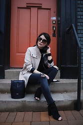 Isabel Alexander - Ann Taylor Loft Neutral Trench Coat, Blank Nyc Dark Wash Ripped Denim, Camelia Roma Black Mini Backpack Bag, Tony Bianco Black Stretch Peep Toe Booties - Trench Coats & Denim For Spring