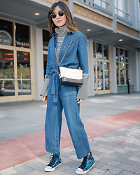 Elizabeth Lee (Stylewich) - Levi's Alix Jumpsuit, Chanel Gabrielle Bag, Converse High Top Sequin Sneakers - Jumpsuit Season