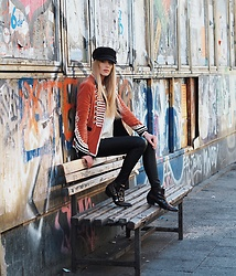 Laura Simon - Lemare Studded Boots, Topshop Leather Pants, Zara Military Blazer, Anthropologie Black Hat - Typical Berlin