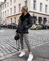 Romina M. - Nubikk White Sneakers, Zara Biker Jacket, Alexander Wang Bag Rockstud, Christian Dior Earrings - @Donnaromina | White Sneakers