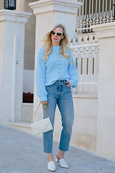 Meagan Brandon - Sweater (Under $20), Levi's Jeans, Saint Laurent Bag, White Mules - Baby Blue for Spring