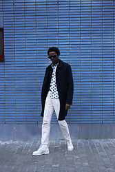 Jon The Gold - Dr. Martens White Boots, Weekday Soft Pink Jeans, Diesel Print Shirt, Cos Blue Coat, Vava Eyewear Frame Sunglasses - Dr. White Boots