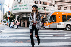 Jessi Malay - Lack Of Color Riviera Cap, Majorelle Rhea Blazer, L'agence Highline High Waist Fray Hem Skinny Jeans, Topshop White Turtleneck, Chloe Mini Faye Wallet On A Chain In Plum, Tony Bianco Davis Bootie - DTLA | The Plaid Blazer