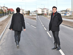 Pawel - G Star Raw Coat, G Star Raw Trousers, G Star Raw Boots - Total black look (and....red)