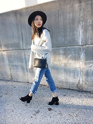 Jeannie Y - Celine Trio, Zara Sweater, Forever 21 Hat, Two Shoes Peep Toe Heels - Transition