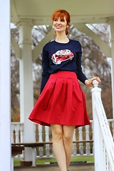 Bleu Avenue Ofbleuavenue - Haoduoyi Women's Sparkly Sequin Embroidered Pullover Knit Long Sleeve Sweater, Ann Taylor Loft Red Swing Skirt - Love Across the Pond
