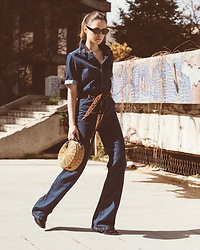 Jovana Zuka - Mango Denim Jumpsuit, Mango Bamboo Bag - THAT 70S SHOW