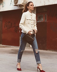 Jovana Zuka - Mango Buttoned Jacket, Mango Mom Jeans, Mango Metal Handle Bag, Zara Satin Sandals - RED SHOES