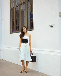 Amanda Olivia L. - Love, Bonito Toga Top, Pomelo Fashion Peplum Flare Skirt, Charles And Keith Strappy Heels - Fit & Flare