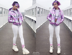 Shady Kleo - Forever 21 Jacket, Buffalo White Space Boots, Primark Bandana, Bubbles Tokyo Cropped Jumper - Pastel Roadman