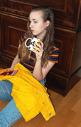 Noora V - Zara Striped T Shirt, Zara Yellow Denim Jacket, American Apparel Jeans, Tfs By Noora Coffee Mug - A cup of tea