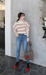 Miamiyu K - Miamasvin Striped Puff Shoulder Knit Sweater - Casual and Chic