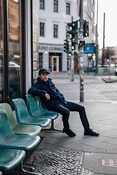 Kevin Elezaj - Common Projects Sneakers, Topman Suit Pants, Urban Outfitters Jacket, Asos Cap - Cold March