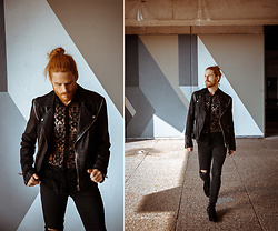 Maik - Tigha Leatherjacket, Asos Lace Shirt, Topman Denim, Tigha Boots - Streetstyle | Leather and lace