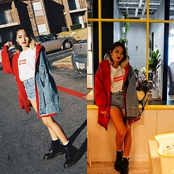 Nabina Magar - Oh Hey Girl Layered Jacket, Dr. Martens Boots, Supreme Tee - All eyes on my Jacket