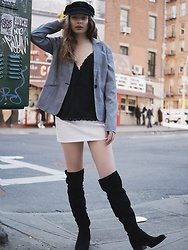 Nicole - Forever 21 Black Lace Cami, Zaful Fisherman Cap, Vintage Check Blazer, Forever 21 White Denim Skirt, Calvin Klein Black Over The Knee Boots - City girl look