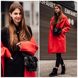 Jacky - Na Kd Coat, Vila Pants, Calvin Klein Boots, Cala Jade Bag - How to wear a red coat