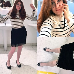 Jack Pal - Jcpenny Flats, Firmoo Glasses, Jcpenny Strip Long Sleeves, L Train Vintage Tensile Skirt - Office girl